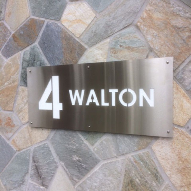 Stainless steel strata signs